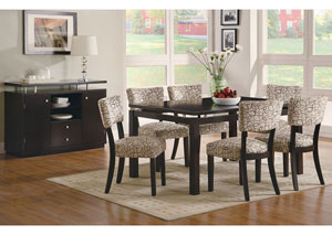 Libby Cappuccino Dining Table w/ 6 Side Chairs & Server
