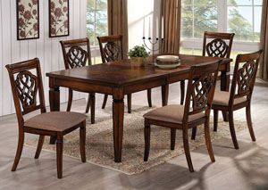 Oak Dining Table w/Extension Leaf & 6 Side Chairs