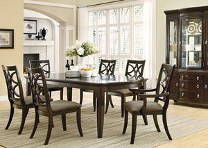 Espresso Dining Table w/4 Side Chairs, 2 Arm Chairs, Buffet & Hutch