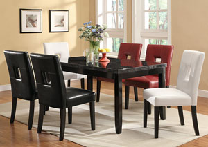 Newbridge Deep Cappuccino Dining Table w/ 6 Red Side Chairs