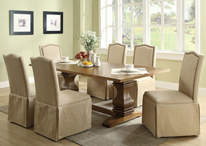 Coffee Dining Table w/ 6 Ivory Parson Chairs w/ Skirt