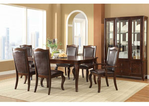Coffee & Cherry Dining Table, 4 Chairs, 2 Arm Chairs & Buffet w/ Hutch