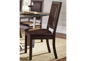 Genoa Wire Brushed Cocoa/ Black Side Chair (Set of Two)