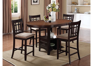 Lavon Espresso Counter Height Table w/ 4 Stools
