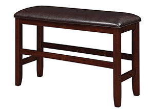 Dark Brown & Dark Cherry Counter Height Bench