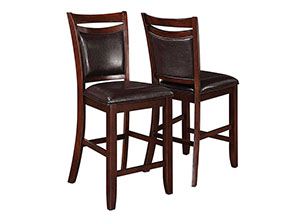 Dark Brown & Dark Cherry Counter Height Chair (Set of 2)