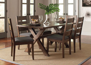 Knotty Nutmeg Dining Table w/4 Dining Chairs