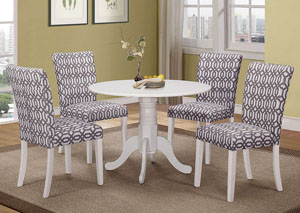 White Table w/ 4 Side Chairs