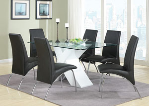 White Glass Dining Table w/6 Side Chairs