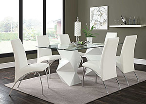 White & White Dining Table w/ 4 Chairs