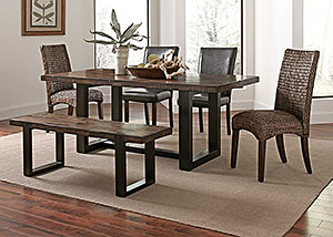 Brown/ Black Dining Table w/ 4 Side Chairs & Bench