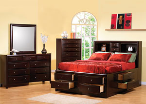 Phoenix Cappuccino King Storage Bed, Dresser, Mirror & Chest