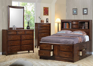 Hillary Walnut King Bed w/Dresser, Mirror & Chest