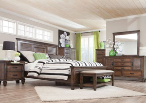 Franco Burnished Oak Eastern King Bed w/Dresser, Mirror, Drawer Chest and Nightstand