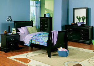 Louis Philippe Black Twin Bed w/Dresser, Mirror, Chest & Nightstand,Coaster Furniture