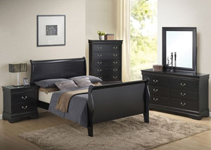 Louis Philippe Black Queen Bed w/Dresser, Mirror & Chest