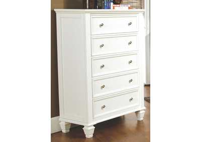 Sandy Beach White 5 Drawer Chest