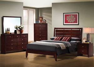 Serenity Merlot King Bed w/Dresser, Mirror, Chest & Nightstand