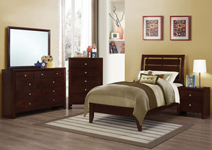 Serenity Merlot Twin Bed w/Dresser, Mirror, Chest & Nightstand
