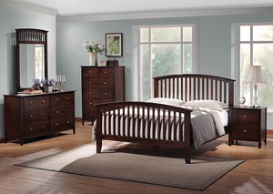 Tia Cappuccino Queen Bed w/Dresser, Mirror, Chest & Nightstand