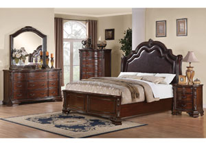 Maddison Queen Bed w/Dresser, Mirror, Chest & Nightstand