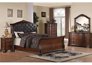 Maddison Black & Brown Cherry King Bed w/Dresser, Mirror, Chest & Nightstand