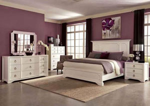 White Queen Bed w/Dresser and Mirror