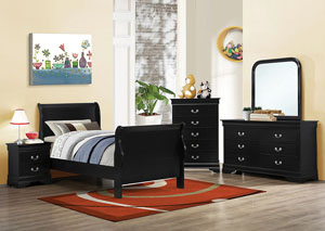 Louis Philippe Black Full Bed w/Dresser, Mirror, Chest & Nightstand
