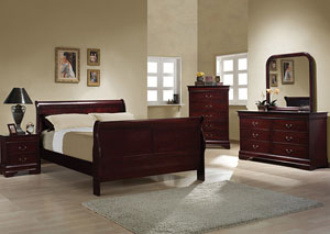Louis Philippe Cherry Queen Bed w/Dresser, Mirror, Chest & Nightstand