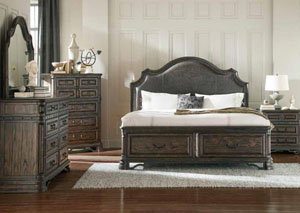 Dark Brown & Wire Brush Eastern King Bed w/Dresser, Mirror, Chest & Nightstand