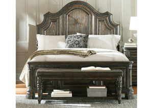 Dark Brown & Wire Brush Eastern King Bed, Dresser, Mirror & Chest