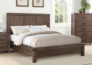 Wire Brushed Cinnamon Queen Panel Bed