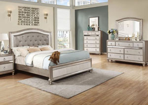 Metallic Platinum Eastern King Bed w/Dresser, Mirror, Chest & Nightstand
