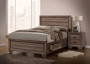 Kauffman Washed Taupe California King Storage Bed