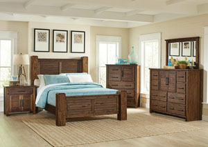 Sutter Creek Vintage Bourbon Queen Low Poster Bed