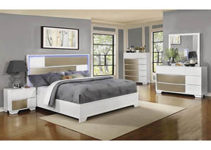 Blanco & Sterling Queen Platform Bed w/Dresser, Mirror and Drawer Chest