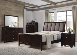 Dark Merlot Eastern King Upholstered Bed w/Dresser, Mirror and Nightstand