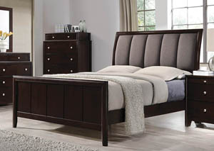 Dark Merlot Queen Upholstered Bed,Coaster Furniture