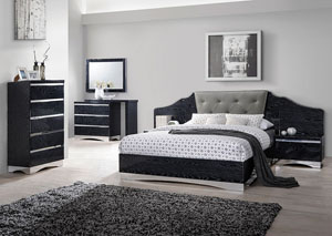 Alessandro Glossy Black Queen Bed