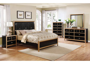 Black/Gold Queen Bed
