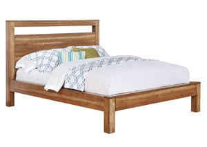 Natural Brown Queen Bed