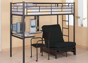 Glossy Black Twin Futon Workstation Loft Bunk Bed w/Desk, Chair & Futon