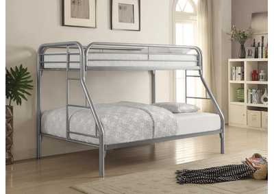 Silver Twin/Full Metal Bunk Bed