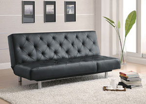 Black Vinyl Sofa Bed