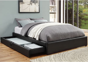 Rich Black Queen Storage Bed
