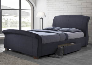 Dark Grey Queen Storage Sleigh Bed