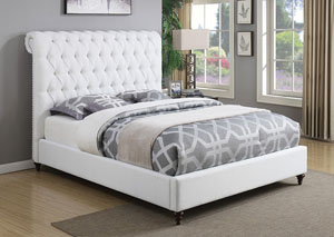 Devon White Upholstered Full Platform Bed