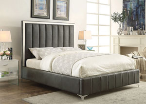 Dark Gray Upholstered & Stainless Steel Full Platform Bed
