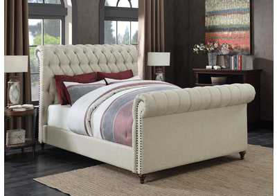 Beige Upholstered Full Sleigh Bed