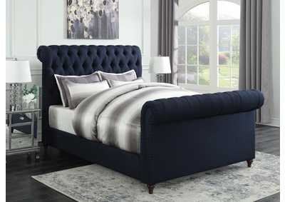 Navy Blue Upholstered Full Sleigh Bed